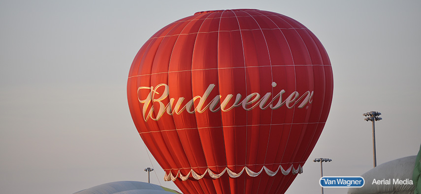 Budweiser hot air balloon rises in the sky to advertise their product