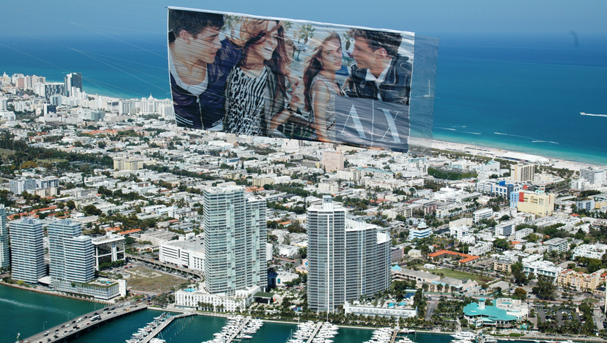aerial advertising miami armani exchange